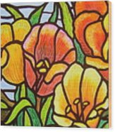 Bright Tulips Wood Print