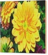 Bright Yellow Dahlia Flower Wood Print