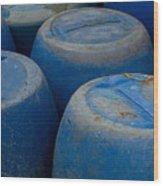 Brightly Colored Blue Barrels Wood Print
