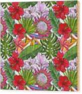 Brightly Colored Tropical Flowers And Ferns  Wood Print