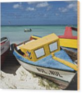 Brightly Painted Fishing Boats Aruba Wood Print