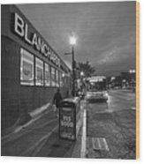 Brighton Ave Packard's Corner Allston Ma Sidewalk Black And White Wood Print