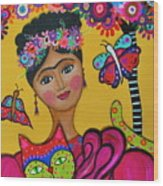 Brigit's Frida And Cat Wood Print
