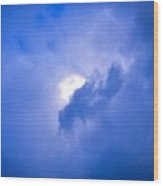 Brilliant Blue Cloud Formation With Sun Glow Wood Print