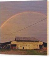 Brilliant Evening Double Rainbow Wood Print