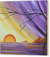 Brilliant Purple Golden Yellow Huge Abstract Surreal Tree Ocean Painting Royal Sunset By Madart Wood Print