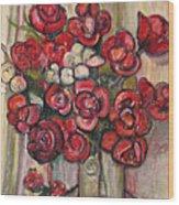 Brilliant Red Flower Oil Pastel Wood Print