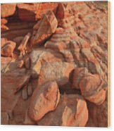 Brilliantly Colored Sandstone At Sunrise In Valley Of Fire Wood Print