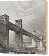 Britannia Bridge Across Menai Strait Wood Print