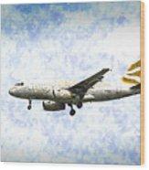 British Airways A319 Feather Design Art Wood Print