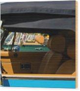 British Car Blue Wood Print