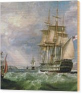 British Men-o'-war Sailing Into Cork Harbour  Wood Print