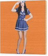 British Navy Blue Pin Up Girl Saluting Wood Print