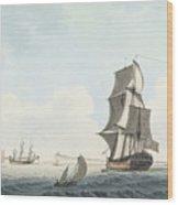 British Single Decker Off The Coast Wood Print