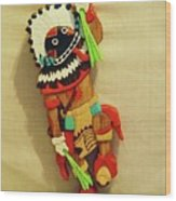 Broad Faced Kachina Wood Print by Russell Ellingsworth