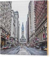 Broad Street Facing City Hall In Philadelphia Wood Print