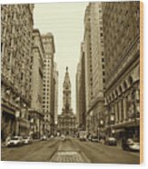 Broad Street Facing Philadelphia City Hall In Sepia Wood Print