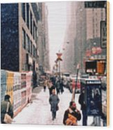 Broadway And 42nd Street 1985 Wood Print