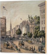 Broadway In The Nineteenth Century Wood Print by Augustus Kollner