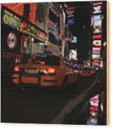 Broadway Lights Wood Print