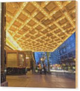 Broadway Theater Marquee Lights In Downtown Wood Print