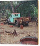 Broken Down Pickup Truck Wood Print