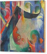 Broken Forms By Franz Marc Modern Bright Colored Painting  Wood Print