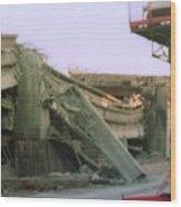 Broken Freeway Oakland Earthquake Wood Print