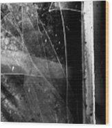Broken Glass Window Wood Print