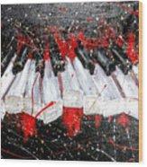 Broken Keys Red Wood Print
