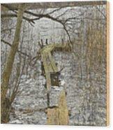 Broken Pier On The Lake. Wood Print