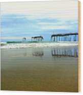 Broken Reflection Frisco Pier 2 4/25 Wood Print