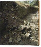 Broken Stone Wall Cascades Stones Wood Print