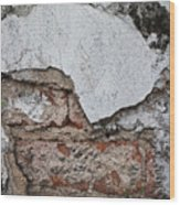 Broken White Stucco Wall With Weathered Brick Texture Wood Print