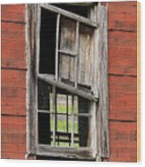 Broken Window Frame Wood Print