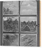 Broken Window In Black And White Wood Print