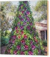 Bromeliad Christmas Tree At Pinewood Estate, Bok Tower Wood Print
