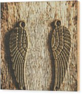 Bronze Angel Wings Wood Print