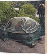 Bronze Turtle Dragon Sculpture Wood Print