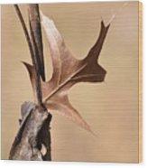 Bronzed Oak Leaf Vertical Wood Print