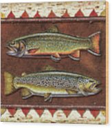 Brook And Brown Trout Lodge Wood Print