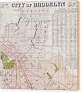 Brooklyn 1893 Map Wood Print