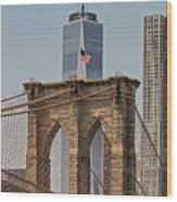 Brooklyn Bridge And One World Trade Center In New York City  Wood Print