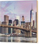 Brooklyn Bridge And Skyline At Sunrise, New York, Usa Wood Print
