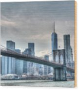 Brooklyn Bridge And The Lower Manhattan Financial District Wood Print
