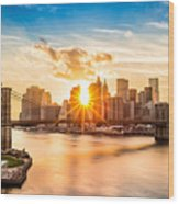 Brooklyn Bridge And The Lower Manhattan Skyline At Sunset Wood Print