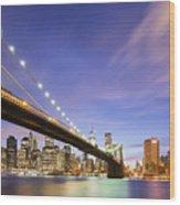 Brooklyn Bridge And The Manhattan Skyline Wood Print