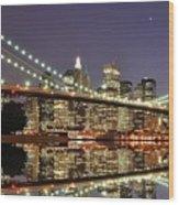 Brooklyn Bridge At Night Wood Print by Sean Pavone