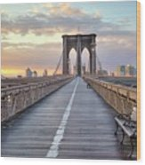 Brooklyn Bridge At Sunrise Wood Print by Anne Strickland Fine Art Photography