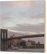 Brooklyn Bridge At Sunset Wood Print
